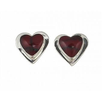 Cavendish French Sterling Silver Formed Red Jasper Heart Earrings