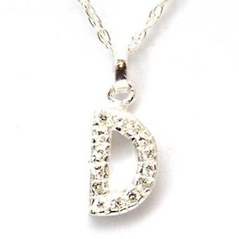 TOC Sterling Silver Clear Rhinestone Set Initial 'D' Pendant Necklace 18