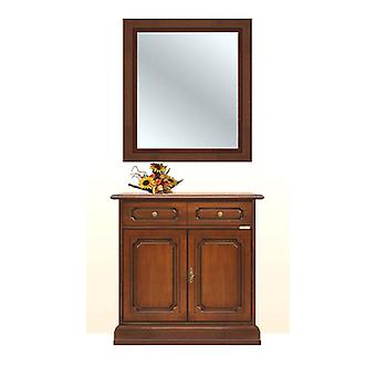 Cupboard with solid wood mirror