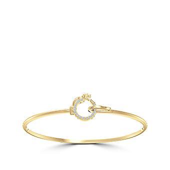 University Of Pittsburgh - Pitt Panther Diamond Cuff Bracelet In 14K Yellow Gold