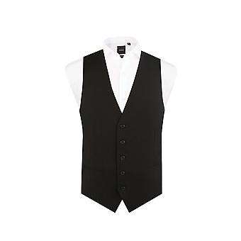 Dobell Mens Black Waistcoat Slim Fit 5 Button Travel/Performance
