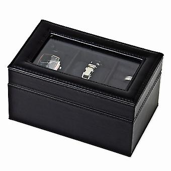 Black Polyurethane with Interior 2 Watch and Ring Case Available in Black/Grey