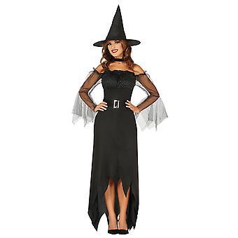 Costume de robe de fantaisie de sorcière noire de femme d'Halloween