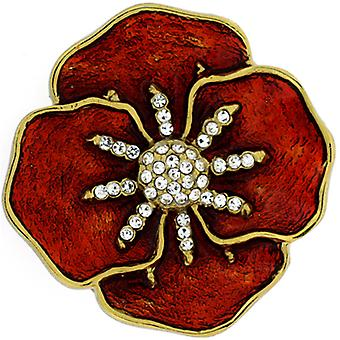 Brooches Store Gold Plated, Swarovski Crystal  and  Red Enamel Poppy Brooch