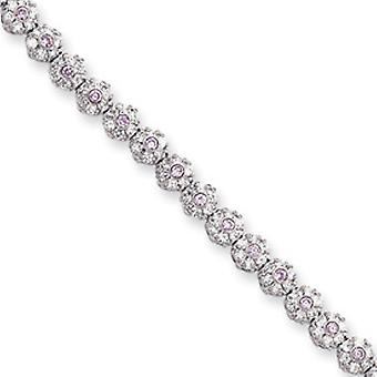 8.25in Rhodium-plated Pink White CZ Flower Bracelet 8.25 In