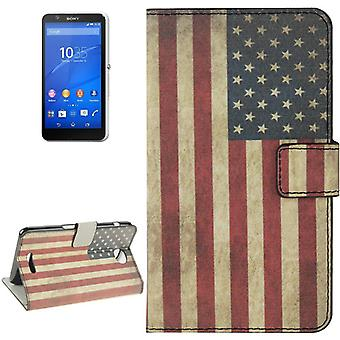 Mobile case bag for mobile phone Sony Xperia E4 retro flag United States