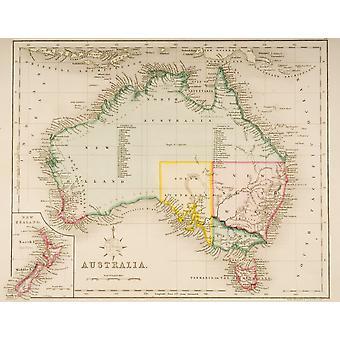Kart over Australia og New Zealand trukket og gravert av J Archer Pentonville London C1830 PosterPrint