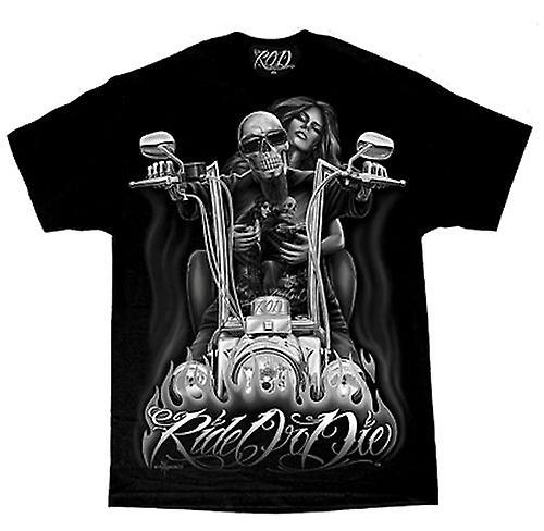 DGA Tees David Gonzales Art Ride Or Die My Old Lady Tattoo Black Tshirt Mens
