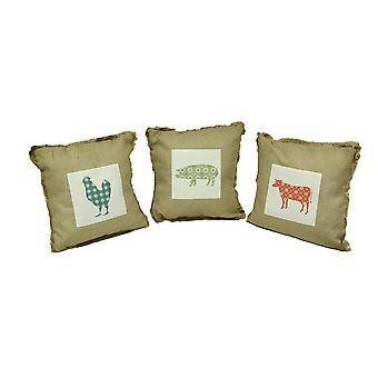 Farm to Table Fringed Burlap Throw Pillow Set of 3