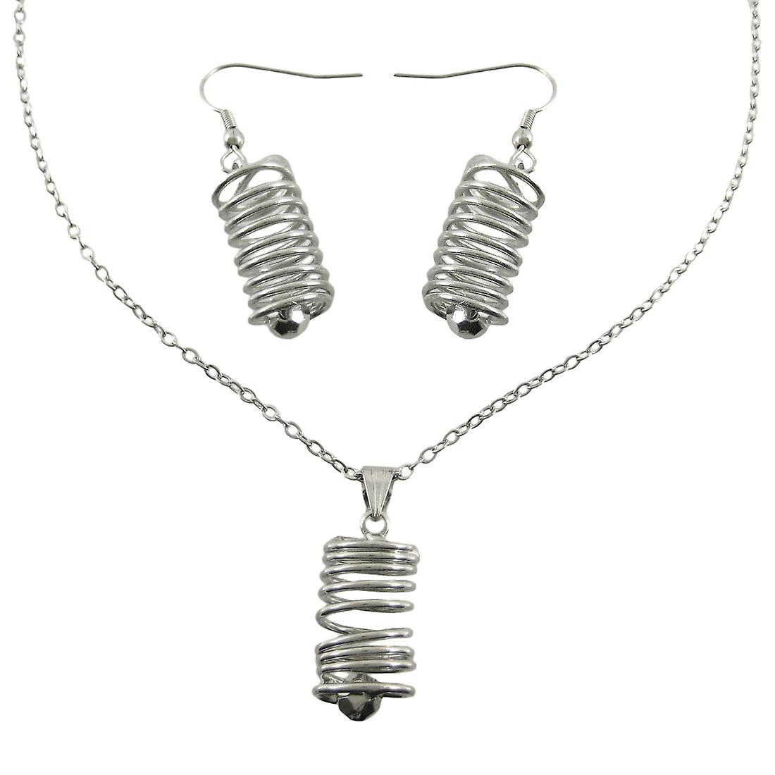 Chrome Spiral Wire Cylinder Necklace / Earrings Set