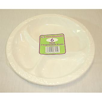 26cm 3 Compartment Plates Disposable Plastic Plates Pack of 6