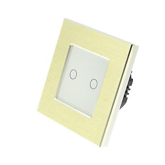 I LumoS Gold Brushed Aluminium 2 Gang 1 Way Remote Touch LED Light Switch White Insert