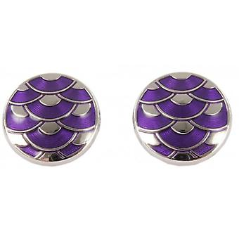 David Aster Round Enamel Wave Cufflinks - Purple