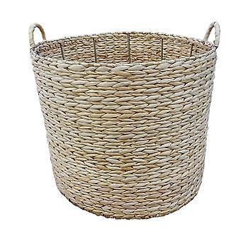 Set of 2 Round Water Hyacinth Storage Baskets