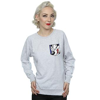 Looney Tunes Women's Pepe Le Pew Face Faux Pocket Sweatshirt