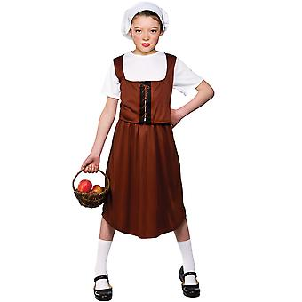 Tudor Girl Children Fancy Dress Costume With Top, Waistcoat, Skirt & Hat/Bonnet