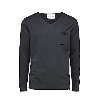 Jack and Jones Premium Bryan V-Neck  Navy Blue Jumper