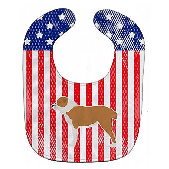 Carolines Treasures  BB3328BIB USA Patriotic Central Asian Shepherd Dog Baby Bib