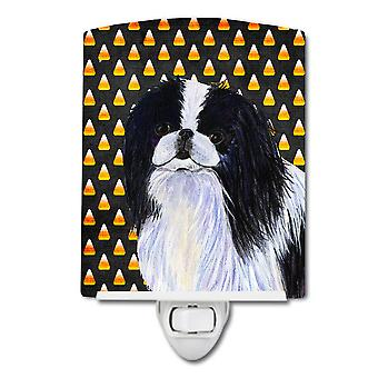 Japanese Chin Candy Corn Halloween Portrait Ceramic Night Light