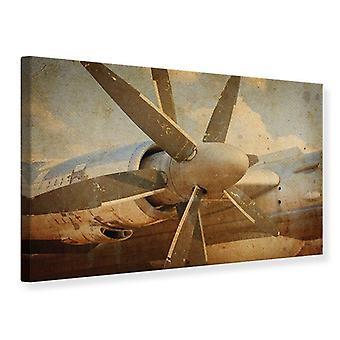 Leinwand drucken Propeller-Flugzeug im Grunge-Stil
