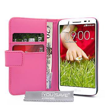 Yousave akcesoria LG G2 Mini Portfel skórzany efekt wypadku - Hot Pink