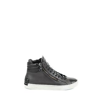 Kriminalitet London mænds 1133431 grå/sort læder Hi Top sneakers