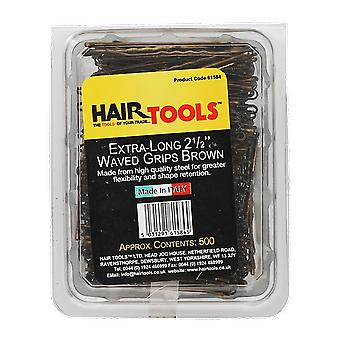 Hairtools ekstra lang 2,5 tommer vinkede greb Brown