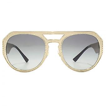Versace Medusa Pilot Sunglasses In Pale Gold Grey Gradient