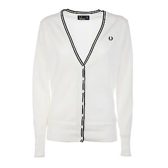 Fred Perry women's FPK861014129 white cotton Cardigan