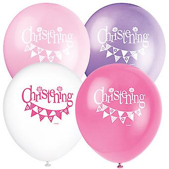 Unique Party Bunting Christening 12 Inch Latex Balloons (Pack Of 8)