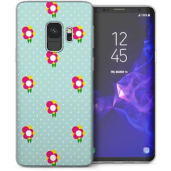 Samsung Galaxy S9 floreale stampa pois TPU Gel caso – verde