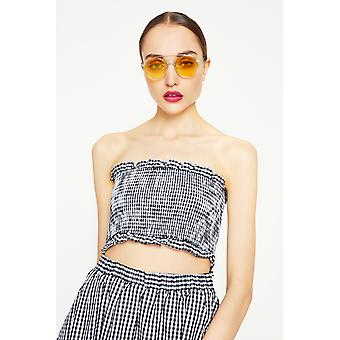 Freyrs Silver Round Sunglasses With Yellow Frame