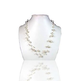 Collar woman 3 ranks Nylon Invisible in Silver 925 and cultured white pearls or black