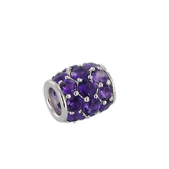 Shipton and Co Ladies Shipton And Co Silver And Amethyst Pave Barrel Charm DQA243AM