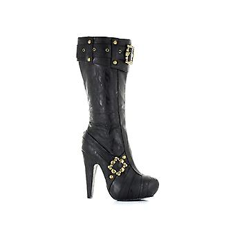 Ellie Shoes E-42-Aubrey 4 Knee High Steampunk Boots With Buckles And Studs
