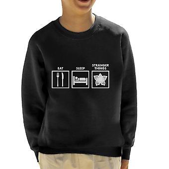 Eat Sleep Stranger Things Graphics Kid's Sweatshirt