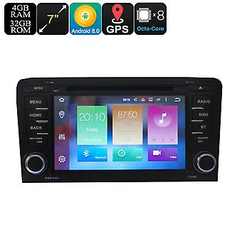 2 DIN Car DVD Play For Audi A3 - 7 Inch Display, Android 8.0, GPS, WiFi, 3G Support, CAN BUS, Octa-Core CPU, 4GB RAM