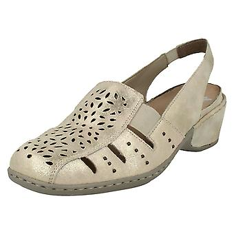 Ladies Rieker Slingback Loafer Sandals 47190-62 - Beige Leather - UK Size 7.5 - EU Size 41 - US Size 9.5
