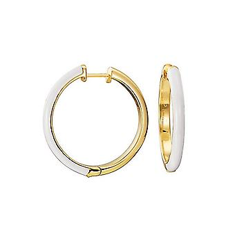 ESPRIT women's Creole earrings stainless steel gold Fancy white ESCO11656J000