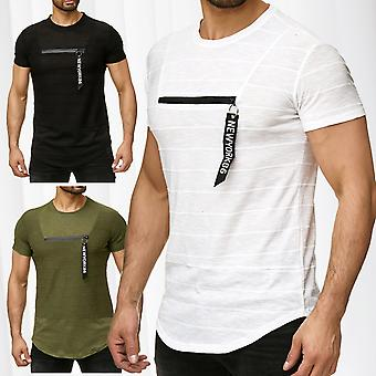 Men's T-Shirt Heather zipper short sleeved long shirt pendant motif long tea