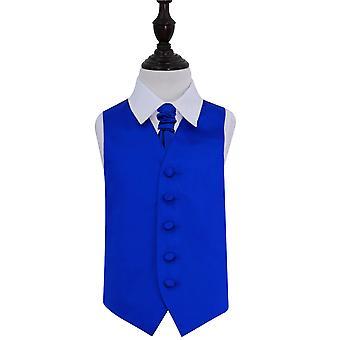 Royal Blue platte satijnen bruiloft gilet & Cravat Set voor jongens