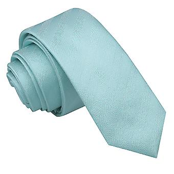 Aqua Herringbone Silk Skinny Tie