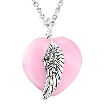 Guardian Angel Wing Inspirational Amulet Magic Heart Pink Simulated Cats Eye Pendant Necklace