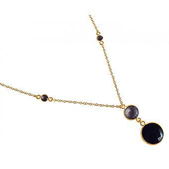 Gemshine Halskette Anhänger Silber Vergoldet Onyx Rauchquarz Schwarz Braun