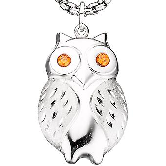 Trailer OWL 925 sterling silver rhodium plated satin-finish 2 cubic zirconia orange