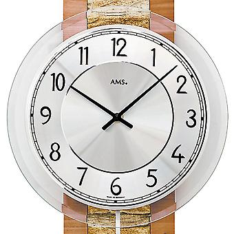 AMS 7424 wall clock quartz with pendulum wooden core beech finish with natural stone pendulum clock