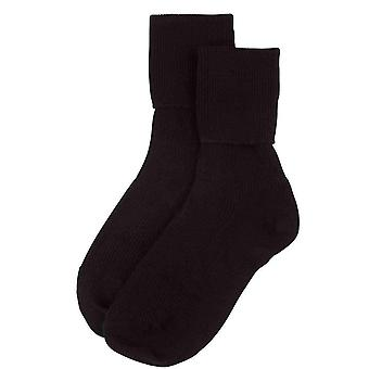 Johnstons of Elgin Ribbed Ankle Socks - Black