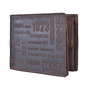 H.I.S mens wallet portemonnee tas donker bruin 1230
