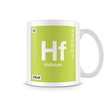 Mug imprimé scientifique, mettant en vedette élément symbole 072 Hf - Hafnium