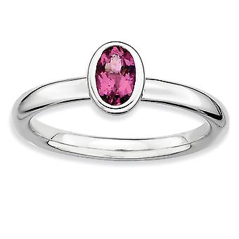Sterling Silver Bezel Polished Rhodium-plated Stackable Expressions Oval Pink Tourmaline Ring - Ring Size: 5 to 10